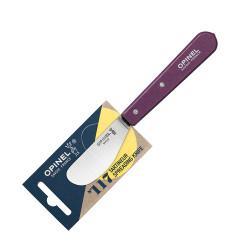 Нож для масла Opinel №117, деревянная рукоять, блистер, нержавеющая сталь, сливовый, 001934
