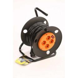 Силовой удлинитель на катушке с выключателем и заземлением КРОНА КС427020 РС-4 на 20 метров 4 розетки 3,5 кВт 16А