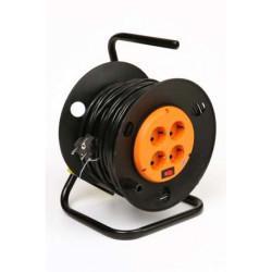 Силовой удлинитель на катушке с выключателем и заземлением КРОНА КС427030 РС-4 на 30 метров 4 розетки 3,5 кВт 16А