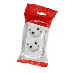 Штепсельная электрическая колодка для удлинителя без заземления MAKEL MGP101 на 2 гнезда 2,2 кВт 10А белая
