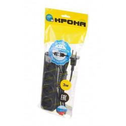 Сетевой удлинитель без заземления КРОНА РС-4 на 3 метра 4 розетки 1,5 кВт 6А черный