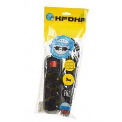 Сетевой удлинитель с заземлением и выключателем КРОНА РС-3/зазем+выкл на 5 метров 3 розетки 2,2 кВт 10А черный