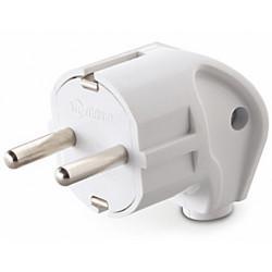 Вилка электрическая угловая с заземлением MAKEL 10027 белая 220В 16А 3,5 кВт