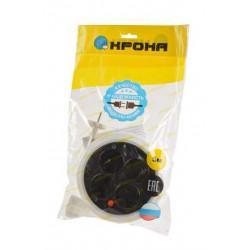 Круглый сетевой удлинитель-рулетка без заземления с термозащитой КРОНА КБТ422005 РС-4 на 5 метров 4 розетки 1,5 кВт 6А белый