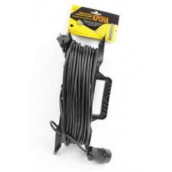 Электрическая переноска-удлинитель на рамке КРОНА КС113020 РС-1 на 20 метров 1 розетку 1,3 кВт 6А черная