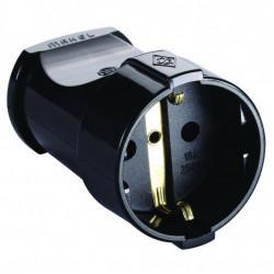 Штепсельное гнездо розетка с заземлением MAKEL 10053 цвет черный 220В 16А 3,5 кВт