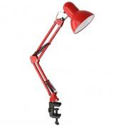 Настольный ламповый светильник на струбцине 12896 Ultraflash UF-312P красный 220В 60Вт Е27
