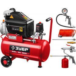 Маслянный компрессор ЗУБР набор аксессуаров 240 л/мин 24 л КПМ-240-24 H6