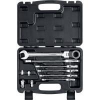 Набор шарнирных трещоточных гаечных ключей с адаптерами ЗУБР Профессионал 10 шт 8-19 мм 27102-H10