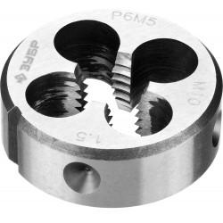 ЗУБР М10x1.5мм, плашка, сталь Р6М5, круглая машинно-ручная 4-28023-10-1.5, 4-28023-10-1.5, серия Профессионал