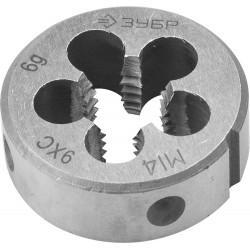 ЗУБР М14x2.0мм, плашка, сталь 9ХС, круглая ручная, 4-28022-14-2.0
