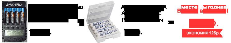 Акция! Зарядное устройство Robinon Pro Charger 1000 + Аккумуляторы Ansmann maxE Pro AA 1900мАч 4шт бокс